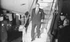 Aristotle Onassis coming off plane