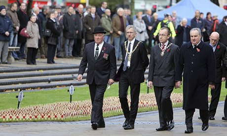 Máirtín Ó Muilleoir, the Sinn Féin mayor of Belfast, at the Armistice Day service at city hall