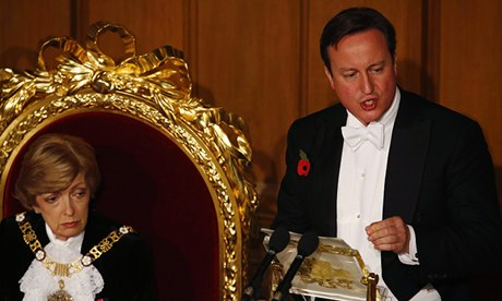 David Cameron and the lord mayor of London, Fiona Woolf: 'I just wish they'd cut his speeches.' Phot