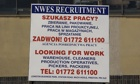 Economic boost: a recruitment sign in both Polish and English on Merseyside.