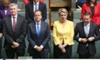 Tony Burke, opposition leader Bill Shorten, Tanya Plibersek and Chris Bowen are sworn in to the 44th parliament on 23 November 2013.