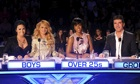 Doomed: Cowell with fellow X Factor USA judges Demi Lovato, Paulina Rubio and Kelly Rowland.