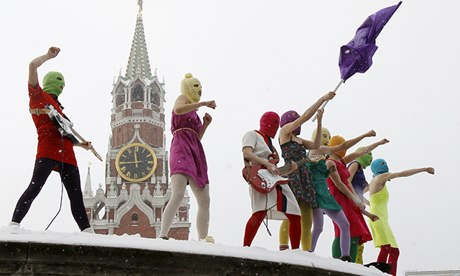 A Pussy Riot protest in Red Square in Moscow January 2012.
