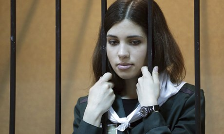 Nadezhda Tolokonnikova in court in April this year