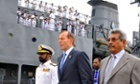 Tony Abbott visits the Sri Lanka Navy vessel in Sri Lanka. Australia will expand cooperation between their navies to crack down on people smuggling.