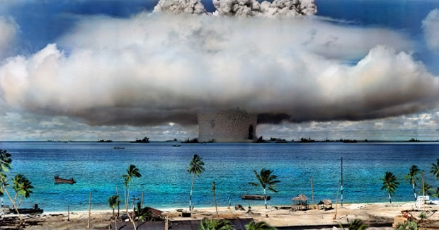 Colorization of the Bikini Atoll nuclear explosion by Sanna Dullaway.