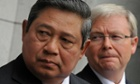 Indonesian president Susilo Bambang Yudhoyono with then prime minister Kevin Rudd in 2010.
