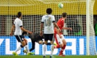 Austria's Marc Janko scores the only goal of the game against the USA in Vienna 19 November 2013