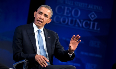 President Barack Obama speaking at the Wall Street Journal CEO Council annual meeting in Washington.