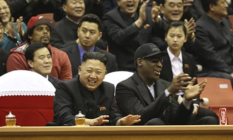 Kim Jong-un and Dennis Rodman watch a basketball game in Pyongyang