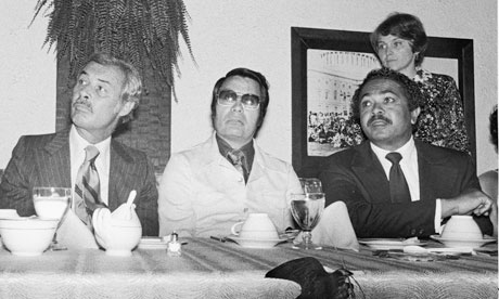 Jim Jones, middle, cult leader in the Jonestown massacre, with San Francisco mayor George Moscone