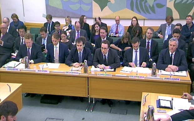 Some of London's top bankers give evidence to a Business Select Committee on the privatisation of the Royal Mail in the House of Commons.