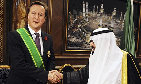 David Cameron with King Abdullah of Saudi Arabia