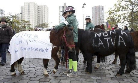 Horses at Paris protest