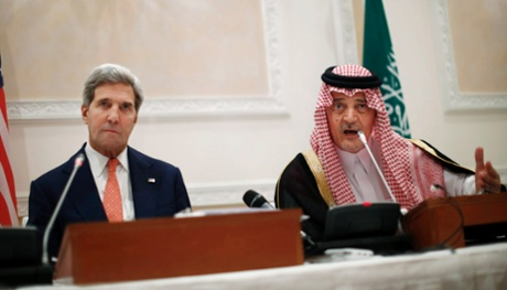 Saudi Arabia's Foreign Minister Prince Saud al-Faisal speaking during a joint press conference with U.S. Secretary of State John Kerry in Riyadh yesterday.