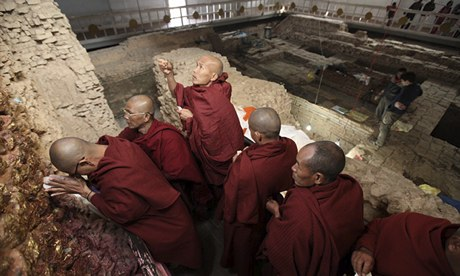Buddhist monks at the Mayadevi temple in Lumbini, Nepal
