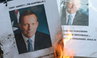 Protesters burn pictures of Tony Abbott in Indonesia