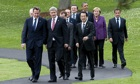 Heads of state and world leaders walk to the 2010 G8 summit in Ontario, Canada, in June 2010.