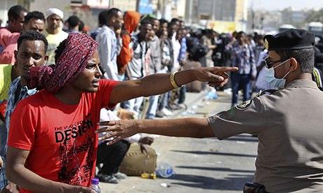 Trabalhador etíope em Manfouha