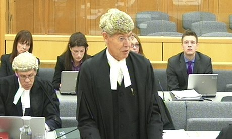 Richard Latham QC addresses the court of appeal, sitting at Nottingham crown court