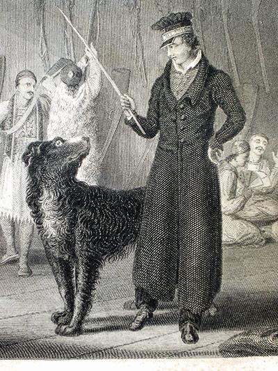 boatswain dog. byron: engraving of lord byron with a dog boatswain c