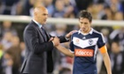 New Melbourne Victory coach Kevin Muscat congratulates captain Mark Milligan after their win over Wellington Phoenix