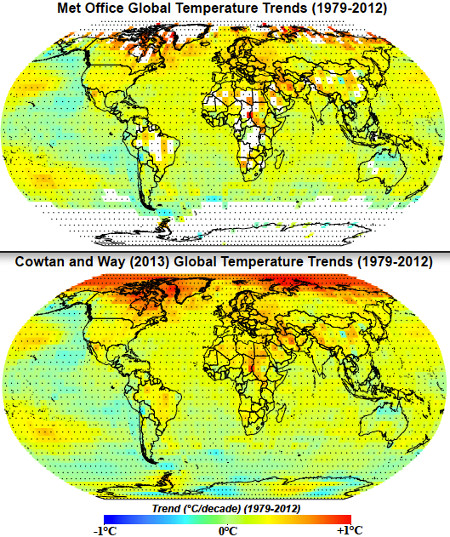 Met Office vs. Cowtan & Way (2013) surface temperature coverage and trends