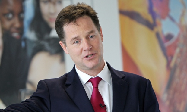 Nick Clegg is giving a speech on the environment.