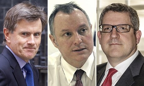 Heads of the UK security services Sir John Sawers, Sir Iain Lobban and Andrew Parker