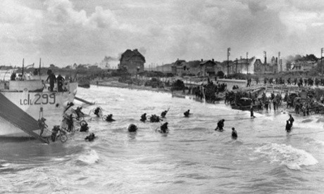 Canadian soldiers with their bicycles landing at Juno beach, Normandy, 1944. Photograph: STF/AFP/Getty Images