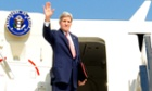 John Kerry, the US secretary of state, about to leave Tel Aviv for Geneva on 8 November 2013.