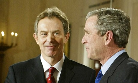 Tony Blair and George Bush shake hands