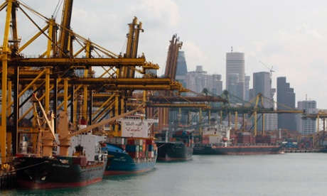 Container ships berthed at Singapore