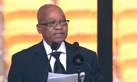 A screengrab taken from the South African Broadcasting Corporation live feed shows South Africa's President Jacob Zuma delivering his speech.