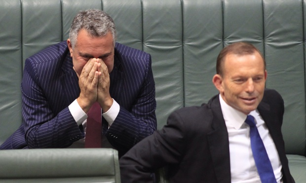 Treasurer Joe Hockey and Prime Minister Tony Abbott during Question Time at Parliament House in Canberra.