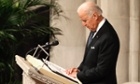 US Vice President Joe Biden pauses during a tribute during the National Memorial Service for Nelson Mandela in Washington.