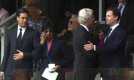 Bill Clinton with Nick Clegg at the Nelson Mandela memorial service