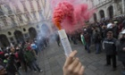 Demonstrators gather in Turin as thousands of farmers, truckers and unemployed people disrupted road and rail traffic in Turin.