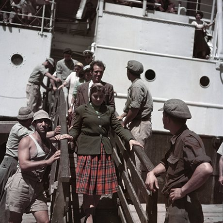 New immigrants disembarking from the Theodor Herzl, near Haifa, Israel], 1949 -50