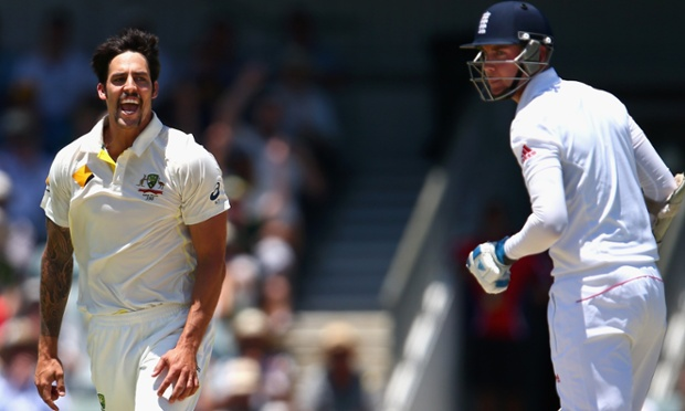Mitchell Johnson celebrates the dismissal of Stuart Broad