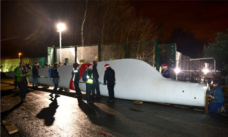 Wind turbine blade laid at Barton Moss oil drilling site