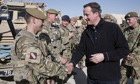 David Cameron speaks to British soldiers at Camp Bastion in Helmand province