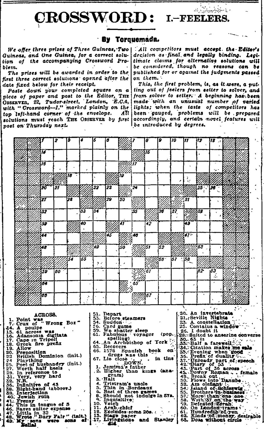 ... crossword ...  sc 1 st  The Guardian & Can you solve the first Guardian crossword? Archive 5 January ... 25forcollege.com