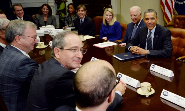 US president Barack Obama and vice president Joe Biden meet executives from leading tech companies at the White House.