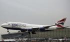 Plane lands at Heathrow