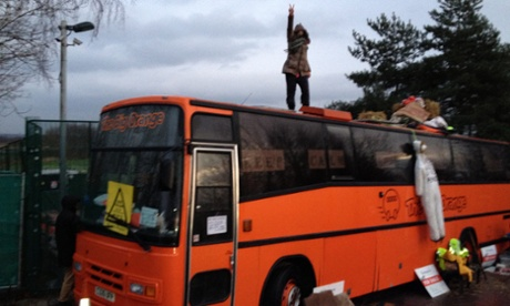 An orange bus blocking the Barton Moss oil drill site operated by IGas