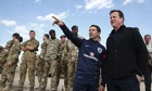 David Cameron and Michael Owen at Camp Bastion, southern Afghanistan.