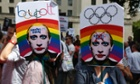 Activists at a protest against Russia's new law on gay people.