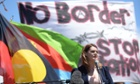 Sarah Hanson-Young at a refugee rally in Canberra