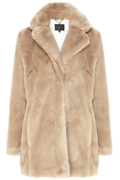 Get the look teddy bear : beige teddy bear coat with collar